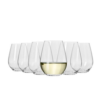 Krosno Vinoteca Gift Boxed Set of 6 x 400ml Stemless White Wine Glasses