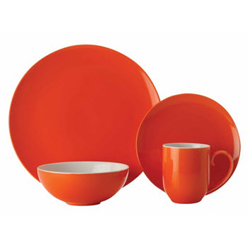 Maxwell & Williams Colour Basics Coupe 16 Piece Dinner Set Orange Gift Boxed