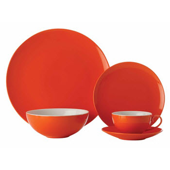 Maxwell & Williams Colour Basics Coupe 20 Piece Dinner Set Orange Gift Boxed