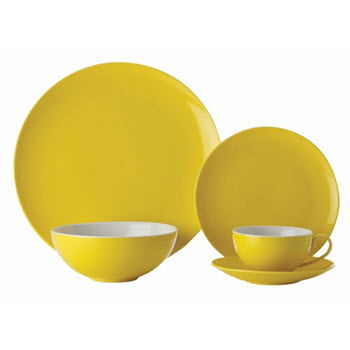 Maxwell & Williams Colour Basics Coupe 20 Piece Dinner Set Yellow Gift Boxed