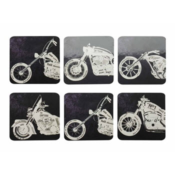 Maxwell & Williams Motorcycles Coasters 10.5cm Set of 6 Gift Boxed