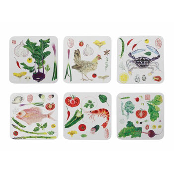 Maxwell & Williams Epicurious Coasters 10.5cm Set of 6 Gift Boxed
