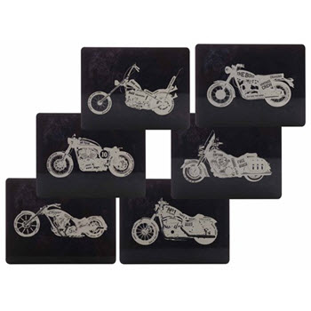 Maxwell & Williams Motorcycles Placemats 34cm x 27cm Set of 6 Gift Boxed