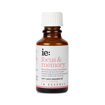 In Essence Focus & Memory Pure Essential Oil Blend: Basil, Rosemary & Cedarwood 25ml