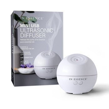 In Essence USB Mini Ultrasonic Diffuser with LED Coloured Light Options 11.4 x 11.4 x 17cm White