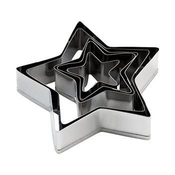 Soffritto 5 Piece Star Cookie Cutter Set with Case