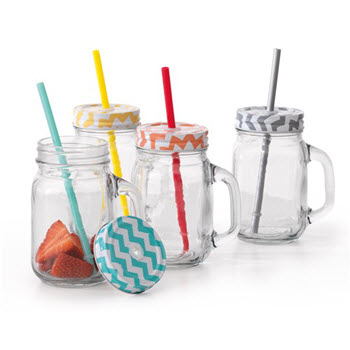 Ambrosia Ombre Glass Drinks Jar With Lid & Straw Assorted Colours