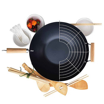Soffritto Carbon Steel 35cm Wok Set