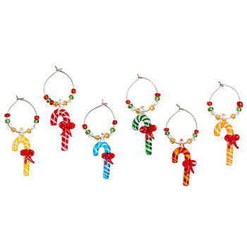 Cellar Be Merry Set of 6 Wine Charms Candy Canes