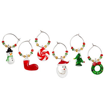Cellar Be Merry Set of 6  Wine Charms Christmas Mix