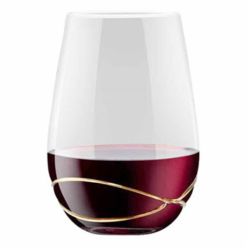 Cellar Premium Gold Luxe Stemless 580ml Wine Glass Set of 2
