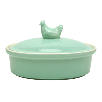 Ambrosia Meadow 20 x 15cm Oval Baker with lid Mint