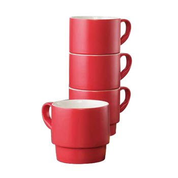 Ambrosia Studio Set of 4  Stackable Mugs Red