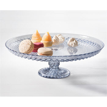 Ambrosia Jewel 30cm Glass Cake Stand Grey