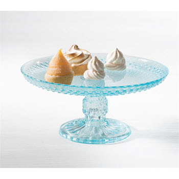 Ambrosia Jewel 25cm Glass Cake Stand Blue