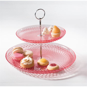 Ambrosia Jewel Glass 2-Tier Cake Stand Pink