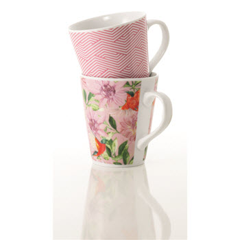 Alex Liddy Ayla Set of 2 300ml Floral/Geo Mug Pink