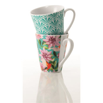Alex Liddy Ayla Set of 2 300ml Floral/Geo Mug Green