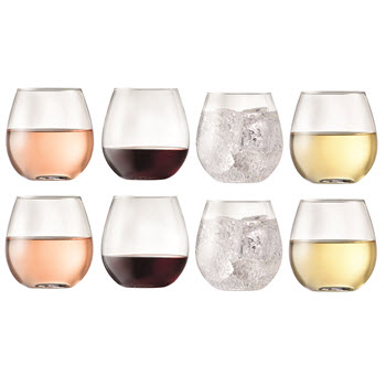 Cellar Stemless 464ml Curved Wine Glass Set of 8