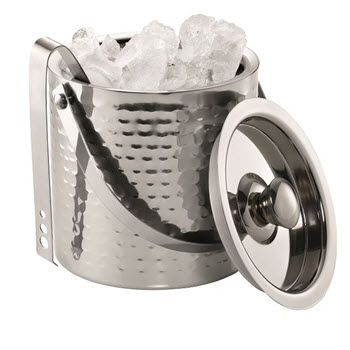 Cellar Premium Hammered Double Wall Ice Bucket & Tongs 15cm