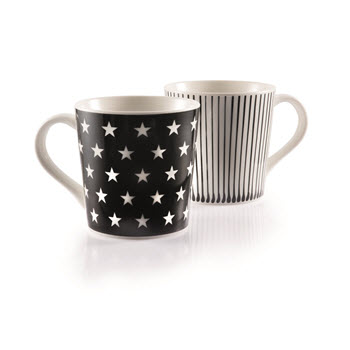 Ambrosia Alta Set of 2 Mug Black & White 350ml