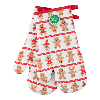 Ambrosia Jingle Bells Ginger Bread Oven Glove Set
