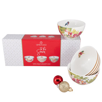 Ambrosia Tis the Season Dip Bowls Set 3 Gift Box