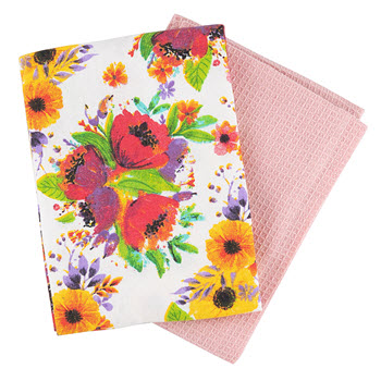 Ambrosia Poppy Tea Towel Set of 2 Pink