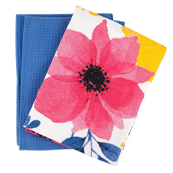 Ambrosia Poppy Tea Towel Set of 2 Blue