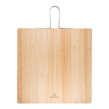 Ambrosia Rubberwood Square Serving Board with Metal Handle 36 x 36cm
