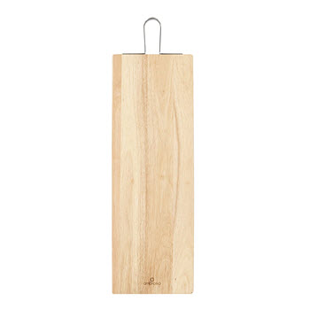 Ambrosia Rubberwood Rectangular Serving Board with Metal Handle 70 x 24cm