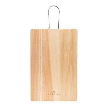 Ambrosia Rubberwood Rectangular Serving Board with Metal Handle 33 x 21cm