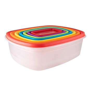 Scullery Fresh Prep Plastic Set of 7 Nest Storage Containers Multicolour
