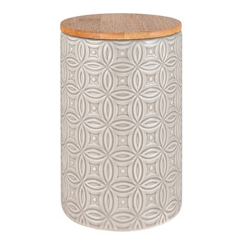 Ambrosia Classico Stoneware & Wood Canister 15cm Grey Circles