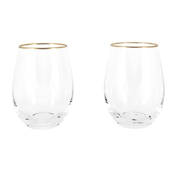 Cellar Premium Luxe 2-Piece Stemless Wine Glass Set with Gold Rim 500ml