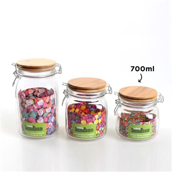 Scullery Bamboo & Glass Clip Canister 700ml