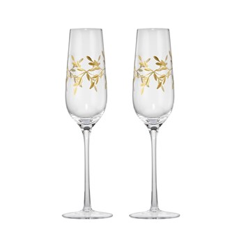 Cellar Premium Set of 2 Luxe Gold Leaf Champagne Flute Glass