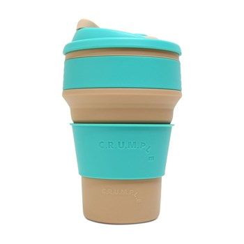 CRUMPLE Fox & Tekapo Collapsible Reusable Eco Coffee Cup 350ml Grey & Blue