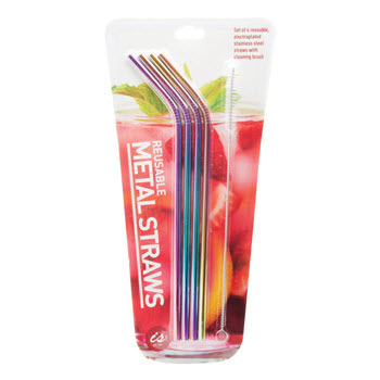 IS Gift Rainbow Metal Drinking Straws Set of 4