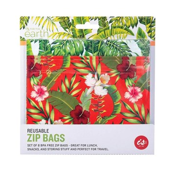 IS Gift Reusable Zip Lock Sandwich Bags Set of 8 Tropical