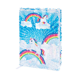 IS Gift Reversable Sequin Notebook Unicorn