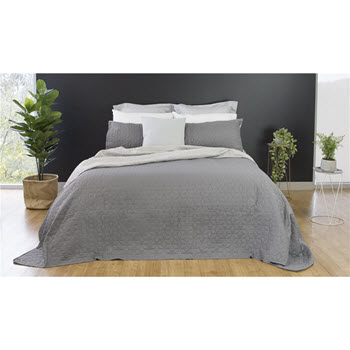 Ardor Boudoir Nottingham Reversible Coverlet Set Charcoal/Silver