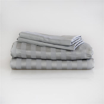 Ardor 1000TC Cotton Rich Jacquard Stripe Sheet Set Light Grey Queen