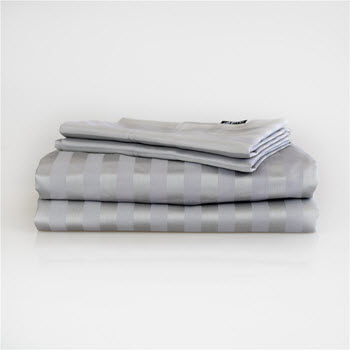 Ardor 1000TC Cotton Rich Jacquard Stripe Sheet Set Platinum Queen