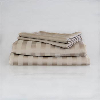 Ardor 1000TC Cotton Rich Jacquard Stripe Sheet Set Taupe Queen