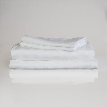 Ardor 1000TC Cotton Rich Jacquard Stripe Sheet Set White Queen