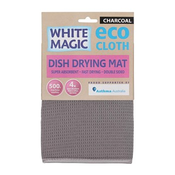 White Magic Eco Cloth Dish Drying Mat Charcoal Grey