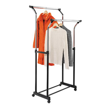 Honey-Can-Do Flared Double Garment Rack Black/Chrome