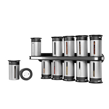 Zevro Zero Gravity Wall-Mount Magnetic Spice Rack Silver