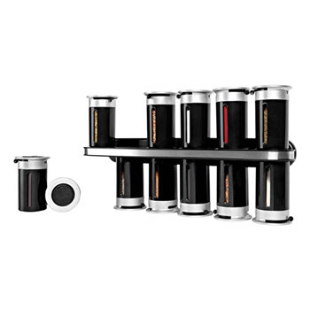 Zevro Zero Gravity Wall-Mount Magnetic Spice Rack Black